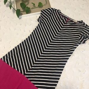 Hatley, black&white striped dress w/ pink accent